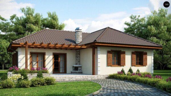 Вполне естественный вариант – проект дома с беседкой (фото «L»)