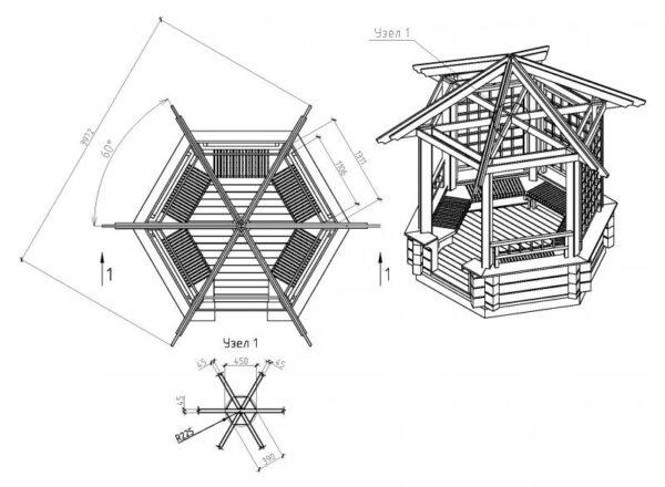 Чертеж для постройки шестиугольной беседки.