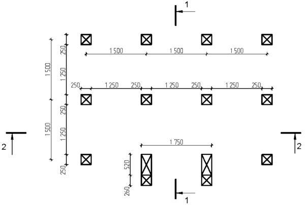 Если пол беседки будет основан на столбчатом фундаменте, обязательна в комплекте документации подробная схема расположения свай