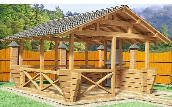 Фото деревянной открытой постройки, в которой использован именно брус
