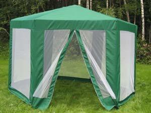 Готовая шатровая беседка из сетки от комаров.