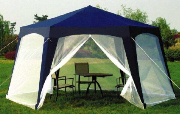 Идём дальше и немного усложняем задачу, как самому сделать беседку на даче, но по-прежнему выбираем готовые беседки-палатки (фото «Е»)