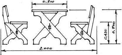На фото чертеж мебели с перекрещивающимися ножками.