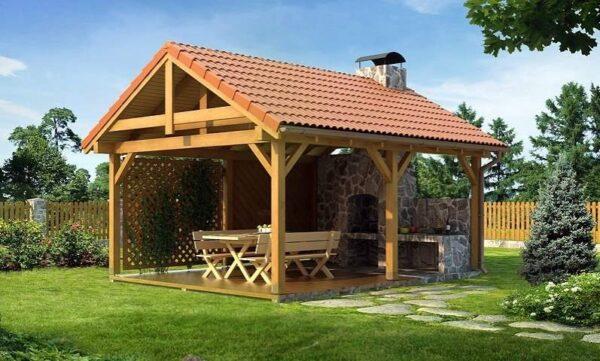 Открытые виды садовых беседок – самые подходящие, если внутри устанавливается барбекю – хорошая вентиляция выходит на передний план