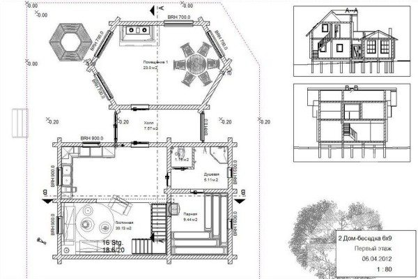 Профессионально выполненный чертеж дачного комплекса с парилкой и отдельной террасой