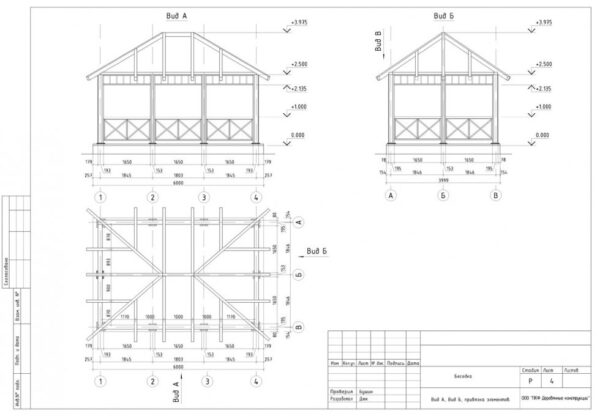 Простой чертеж стационарной прямоугольной конструкции.