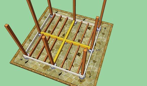 Схематическое изображение расположения обвязки, вертикальных стоек и напольных реек.